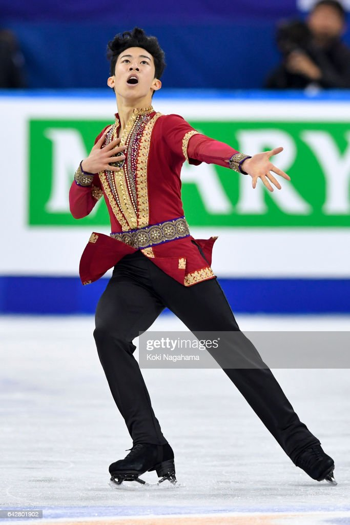 Nathan Chen of United States competes in the men's free skating during ISU Four Continents Figure Skating Championships - Gangneung -Test Event For PyeongChang 2018 at Gangneung Ice Arena on February 19, 2017 in Gangneung, South Korea.