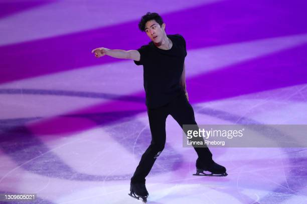 Nathan Chen of United States performs during the Gala Exhibition during day five of the ISU World Figure Skating Championships at Ericsson Globe on...