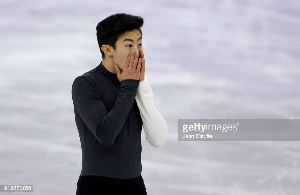 Nathan Chen of USA during the Figure Skating Men Short Program on day seven of the PyeongChang 2018 Winter Olympic Games at Gangneung Ice Arena on...