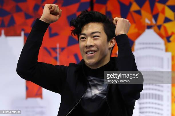 Nathan Chen reacts after getting his scores to move into first place after his championship free skate during the 2019 US Figure Skating...