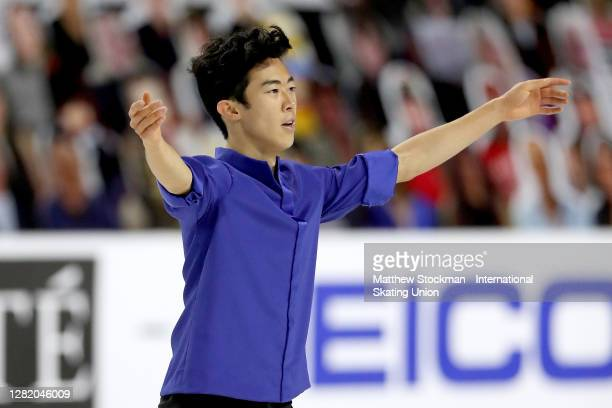 Nathan Chen skates in the Men's Free Skate during the ISU Grand Prix of Figure Skating at Orleans Arena October 24, 2020 in Las Vegas, Nevada.