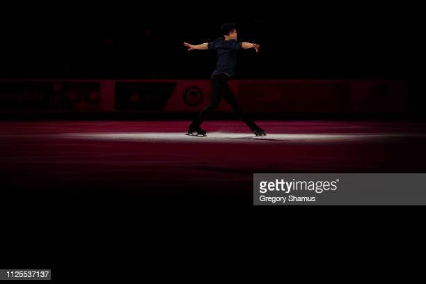 Nathan Chen skates in the skating spectacular after the 2019 US Figure Skating Championships at Little Caesars Arena on January 27 2019 in Detroit...