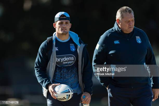 Nathan Cleary and Steve Roach arrive at a New South Wales Blues State of Origin training session at Kippax Lake on May 31, 2019 in Sydney, Australia.