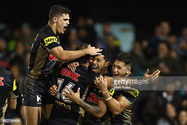 Nathan Cleary Chris Grevsmuhl Waqa Blake and Dallin WateneZelezniak of the Panthers celebrate Chris Grevsmuhl scoring a try during the round 16 NRL...