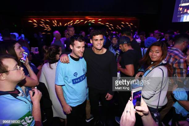 Nathan Cleary interacts with fans during a New South Wales Blues public reception after winning the 2018 State of Origin series at The Star on July...