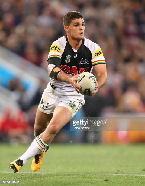 Nathan Cleary looks to pass the ball during the NRL Semi Final match between the Brisbane Broncos and the Penrith Panthers at Suncorp Stadium on...