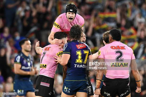 Nathan Cleary, Matt Burton, Jerome Luai and Stephen Crichton of the Panthers celebrate victory during the NRL Preliminary Final match between the...