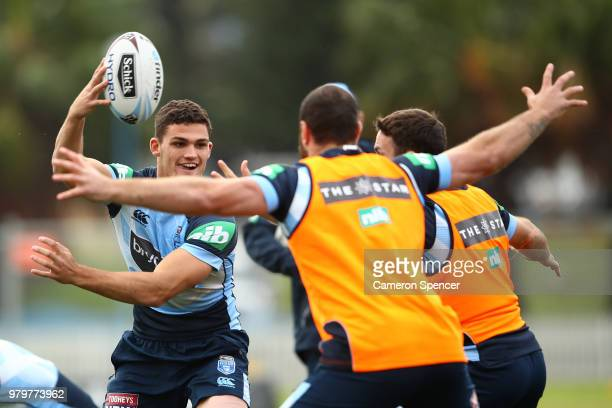 Josh AddoCarr of the Blues looks on during a New South Wales Blues State of Origin training session at Coogee Oval on June 21 2018 in Sydney Australia
