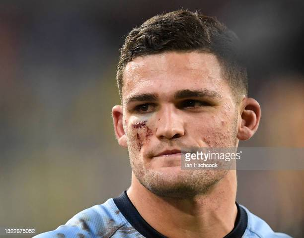 Nathan Cleary of the Blues walks from the field after winning game one of the 2021 State of Origin series between the New South Wales Blues and the...
