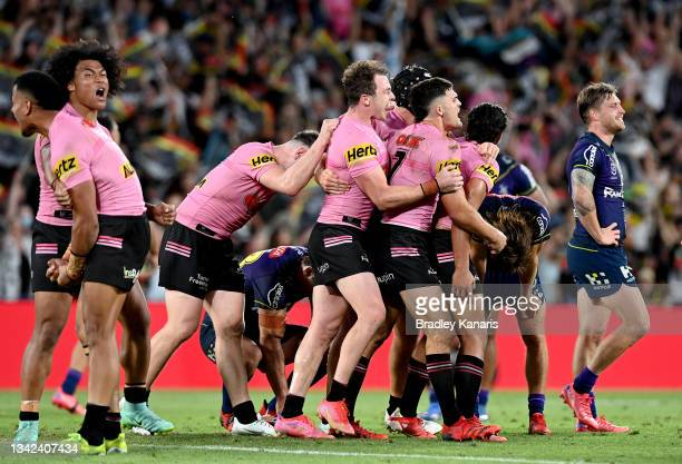 Nathan Cleary of the Panthers and his team mates celebrate victory after the NRL Grand Final Qualifier match between the Melbourne Storm and the...