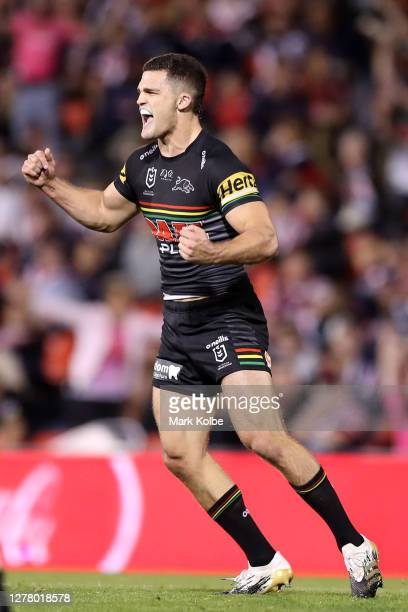 Nathan Cleary of the Panthers celebrates kicking a field goal during the NRL Qualifying Final match between the Penrith Panthers and the Sydney...
