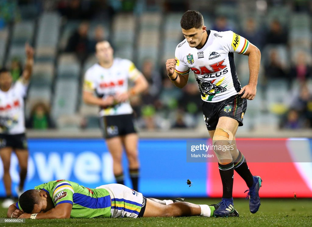Nathan Cleary of the Panthers celebrates kicking a field goal to win the round 14 NRL match between the Canberra Raiders and the Penrith Panthers at GIO Stadium on June 8, 2018 in Canberra, Australia.