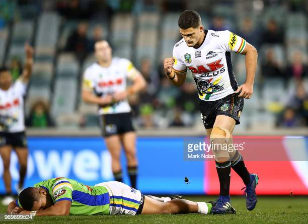 Nathan Cleary of the Panthers celebrates kicking a field goal to win the round 14 NRL match between the Canberra Raiders and the Penrith Panthers at...