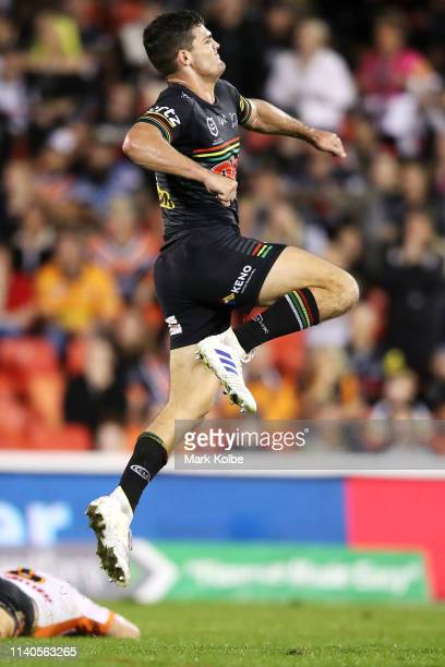 Nathan Cleary of the Panthers celebrates kicking the winning field goal in golden point during the round four NRL match between the Penrith Panthers...