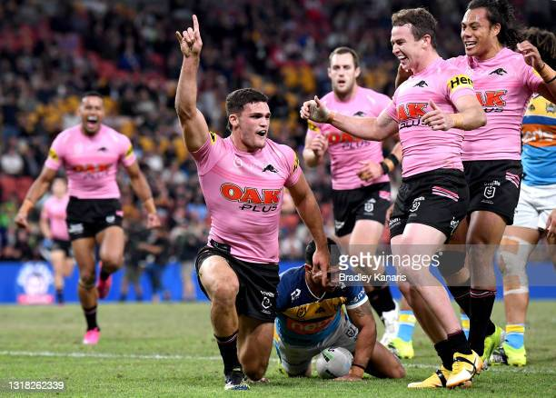 Nathan Cleary of the Panthers celebrates scoring a try during the round 10 NRL match between the Gold Coast Titans and the Penrith Panthers at...