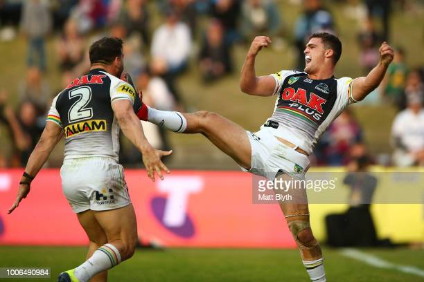 Nathan Cleary of the Panthers celebrates scoring a try during the round 20 NRL match between the Manly Sea Eagles and the Penrith Panthers at...