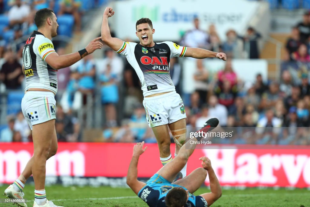 Nathan Cleary of the Panthers celebrates winning after a field goal during the round 22 NRL match between the Gold Coast Titans and the Penrith Panthers at Cbus Super Stadium on August 11, 2018 in Gold Coast, Australia.