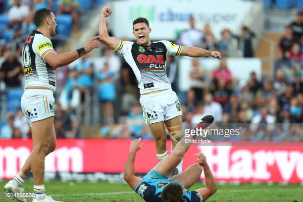 Nathan Cleary of the Panthers celebrates winning after a field goal during the round 22 NRL match between the Gold Coast Titans and the Penrith...