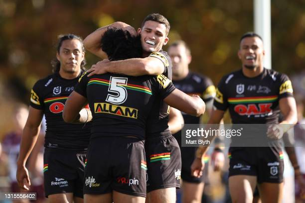 Nathan Cleary of the Panthers celebrates with Brian To'o of the Panthers after a Panthers try during the round eight NRL match between the Penrith...
