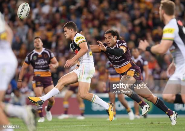 Nathan Cleary of the Panthers is chased down by Adam Blair of the Broncos during the NRL Semi Final match between the Brisbane Broncos and the...