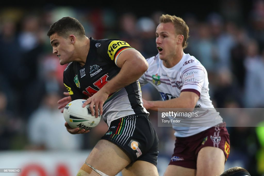 Nathan Cleary of the Panthers is tackled by Daly Cherry-Evans of the Sea Eagles during the round 16 NRL match between the Penrith Panthers and the Manly Sea Eagles at Panthers Stadium on June 30, 2018 in Penrith, Australia.