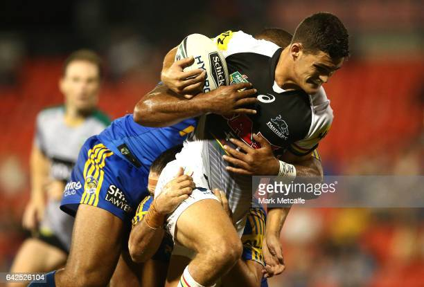 Nathan Cleary of the Panthers is tackled during the NRL Trial match between the Penrith Panthers and Parramatta Eels at Pepper Stadium on February 18...