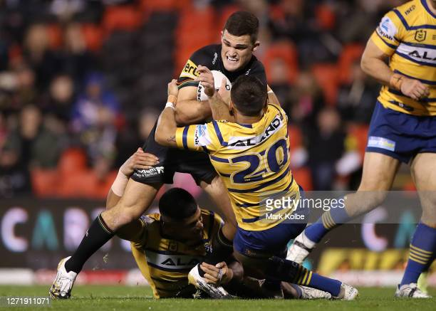 Nathan Cleary of the Panthers is tackled during the round 18 NRL match between the Penrith Panthers and the Parramatta Eels at Panthers Stadium on...