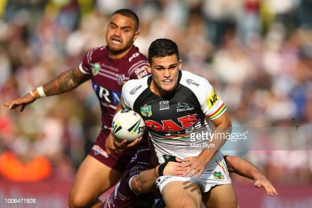 Nathan Cleary of the Panthers is tackled during the round 20 NRL match between the Manly Sea Eagles and the Penrith Panthers at Lottoland on July 28,...