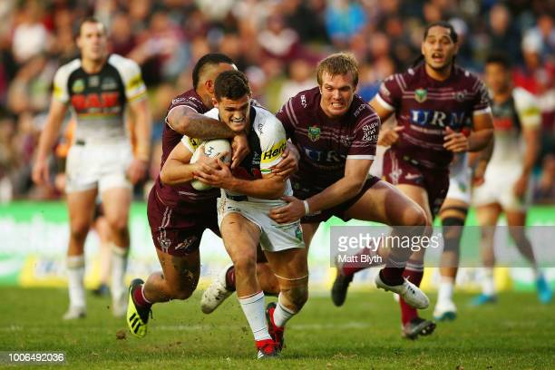 Nathan Cleary of the Panthers is tackled during the round 20 NRL match between the Manly Sea Eagles and the Penrith Panthers at Lottoland on July 28...