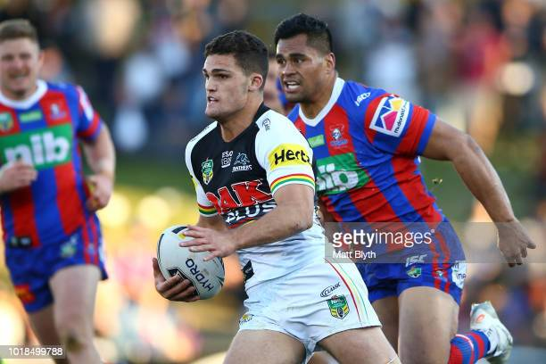 Nathan Cleary of the Panthers is tackled during the round 23 NRL match between the Penrith Panthers and the Newcastle Knights at Panthers Stadium on...