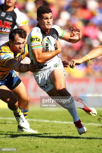 Nathan Cleary of the Panthers is tackled during the round one NRL match between the Penrith Panthers and the Parramatta Eels at Panthers Stadium on...