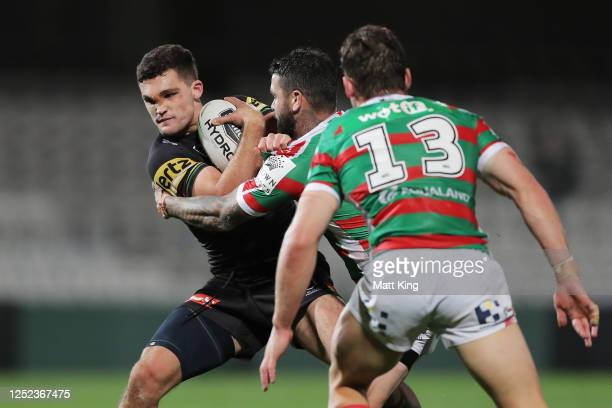 Nathan Cleary of the Panthers is tackled during the round seven NRL match between the Penrith Panthers and the South Sydney Rabbitohs at Netstrata...