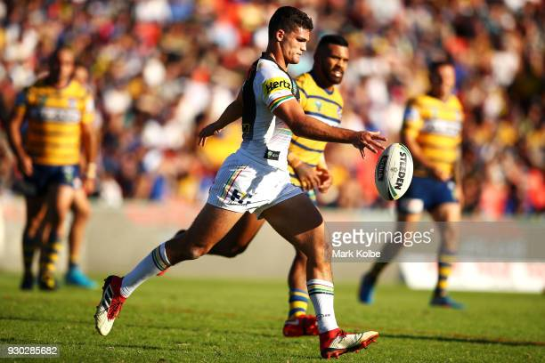 Nathan Cleary of the Panthers kicks during the round one NRL match between the Penrith Panthers and the Parramatta Eels at Panthers Stadium on March...