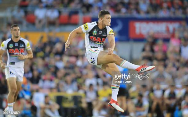 Nathan Cleary of the Panthers kicks the ball during the NRL trial match between the Penrith Panthers and the Sydney Roosters at Penrith Stadium on...