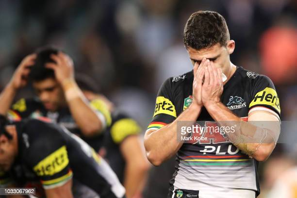 Nathan Cleary of the Panthers looks dejected after defeat during the NRL Semi Final match between the Cronulla Sharks and the Penrith Panthers at...