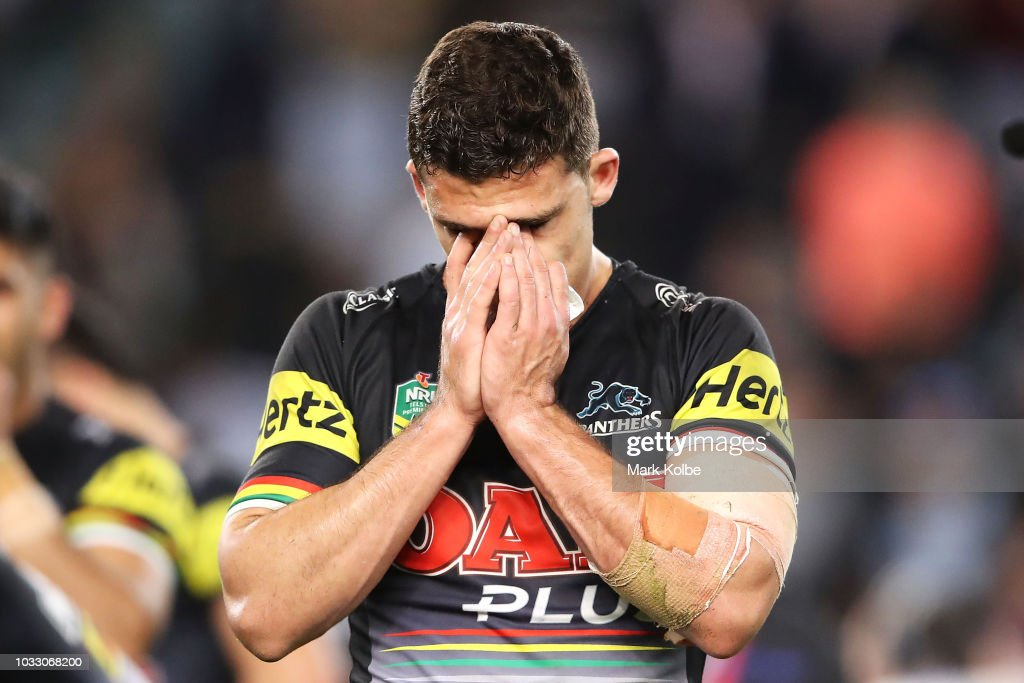 Nathan Cleary of the Panthers looks dejected after defeat during the NRL Semi Final match between the Cronulla Sharks and the Penrith Panthers at Allianz Stadium on September 14, 2018 in Sydney, Australia.