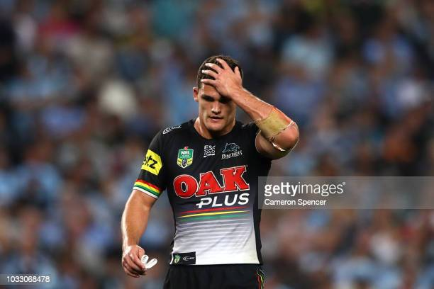 Nathan Cleary of the Panthers looks dejected during the NRL Semi Final match between the Cronulla Sharks and the Penrith Panthers at Allianz Stadium...