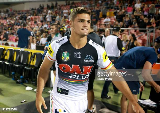 Nathan Cleary of the Panthers looks on during the NRL trial match between the Penrith Panthers and the Sydney Roosters at Penrith Stadium on February...