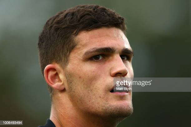 Nathan Cleary of the Panthers looks on during the round 20 NRL match between the Manly Sea Eagles and the Penrith Panthers at Lottoland on July 28...