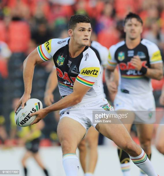 Nathan Cleary of the Panthers looks to pass the ball during the NRL trial match between the Penrith Panthers and the Sydney Roosters at Penrith...