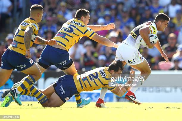 Nathan Cleary of the Panthers makes a break during the round one NRL match between the Penrith Panthers and the Parramatta Eels at Panthers Stadium...