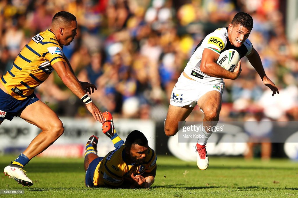 Nathan Cleary of the Panthers makes a break during the round one NRL match between the Penrith Panthers and the Parramatta Eels at Panthers Stadium on March 11, 2018 in Sydney, Australia.
