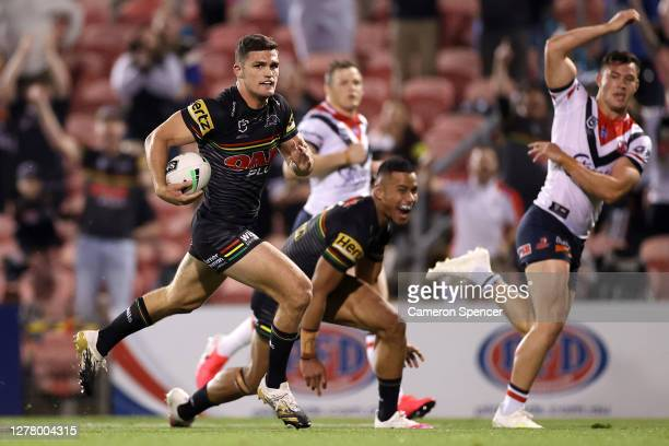 Nathan Cleary of the Panthers makes a break to score a try during the NRL Qualifying Final match between the Penrith Panthers and the Sydney Roosters...