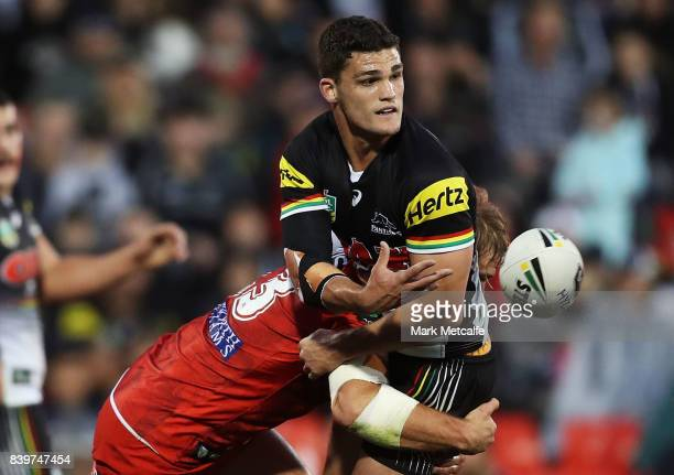 Nathan Cleary of the Panthers offloads during the round 25 NRL match between the Penrith Panthers and the St George Illawarra Dragons at Pepper...
