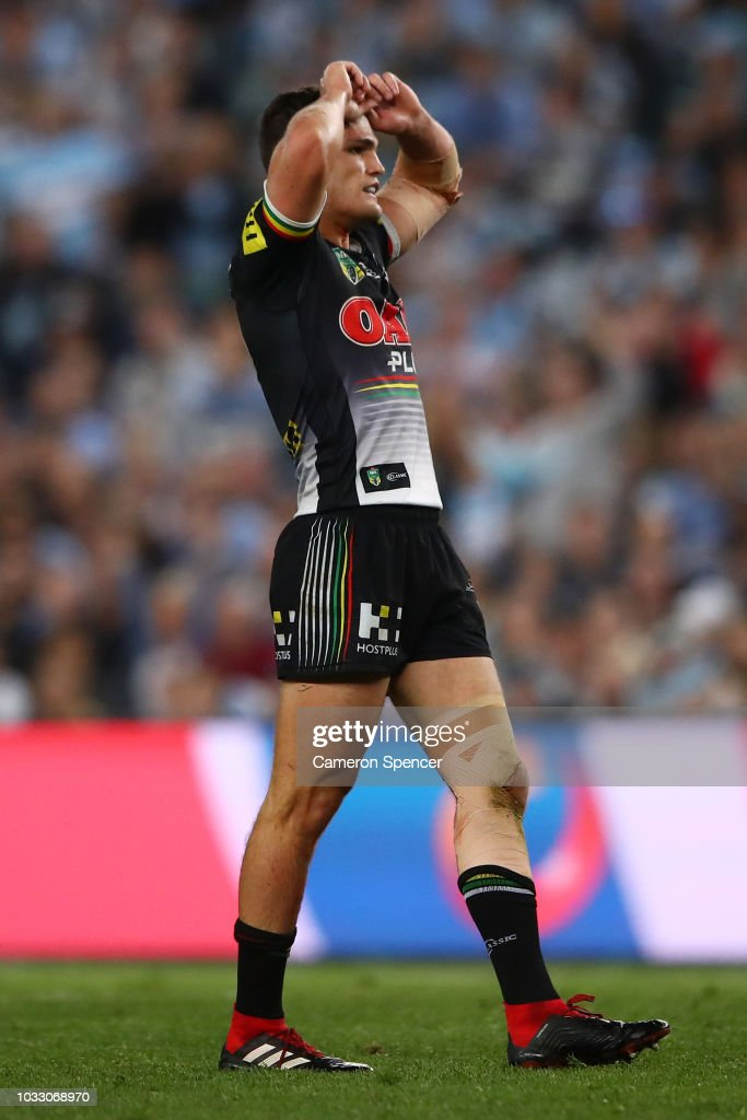 Nathan Cleary of the Panthers reacts after missing a field goal during the NRL Semi Final match between the Cronulla Sharks and the Penrith Panthers at Allianz Stadium on September 14, 2018 in Sydney, Australia.