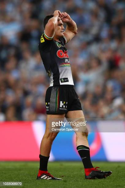 Nathan Cleary of the Panthers reacts after missing a field goal during the NRL Semi Final match between the Cronulla Sharks and the Penrith Panthers...