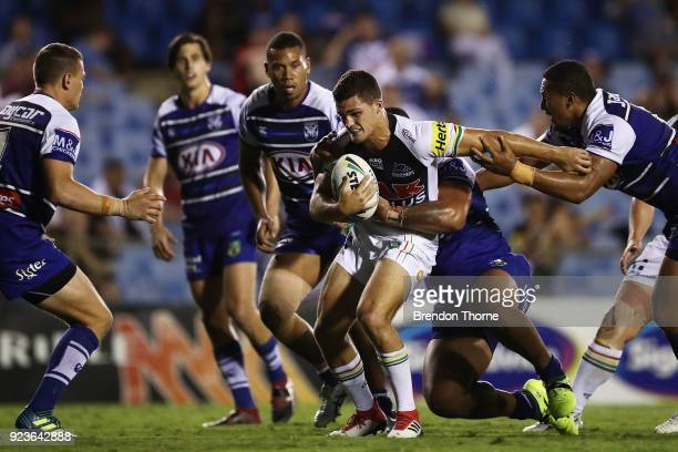 Nathan Cleary of the Panthers runs the ball during the NRL trial match between the Penrith Panthers ands the Canterbury Bulldogs at Belmore Sports...