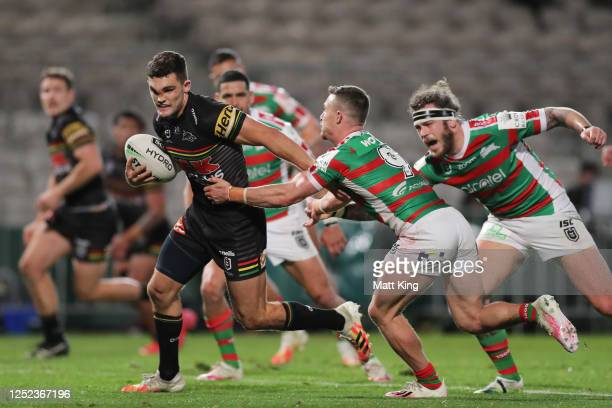 Nathan Cleary of the Panthers scores a try during the round seven NRL match between the Penrith Panthers and the South Sydney Rabbitohs at Netstrata...