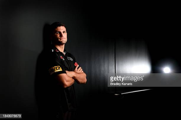 Nathan Cleary poses for a photo during a Penrith Panthers NRL media session at Novotel Twin Waters Resort on September 27, 2021 in Sunshine Coast,...
