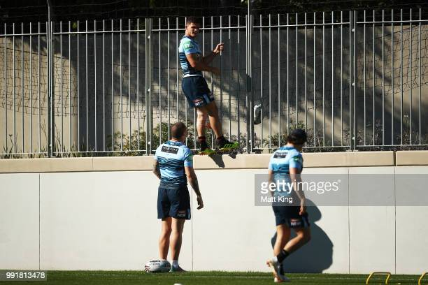 Nathan Cleary retrieves a ball during a New South Wales Blues State of Origin training session at NSWRL Centre of Excellence Field on July 5 2018 in...